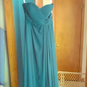 Strapless peacock colored dress. Worn once